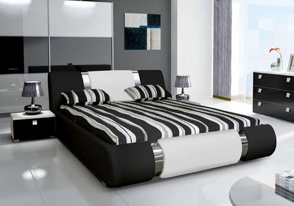 cama de matrimonio de diseo alicante en color negro con blanco dormitorios de estilo ue