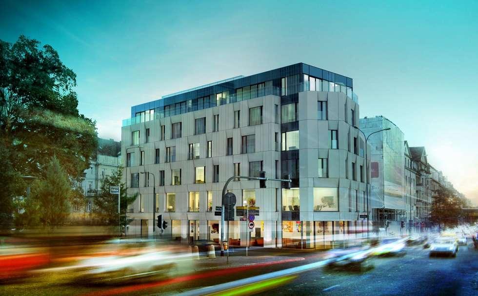 Półwiejska 47 / budynek mieszkalny - wizualizacja wieczorna 02: styl , w kategorii Powierzchnie handlowe zaprojektowany przez Easst.com