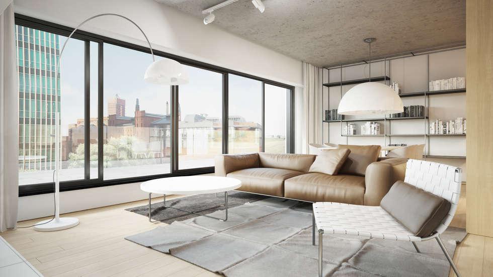 Półwiejska 47 / budynek mieszkalny - wizualizacja wnętrza 01 / mieszkanie: styl , w kategorii Powierzchnie handlowe zaprojektowany przez Easst.com
