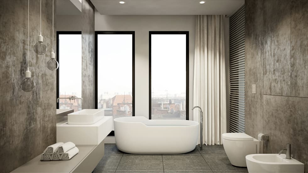 Półwiejska 47 / budynek mieszkalny - wizualizacja wnętrza 06 / mieszkanie / łazienka: styl , w kategorii Powierzchnie handlowe zaprojektowany przez Easst.com