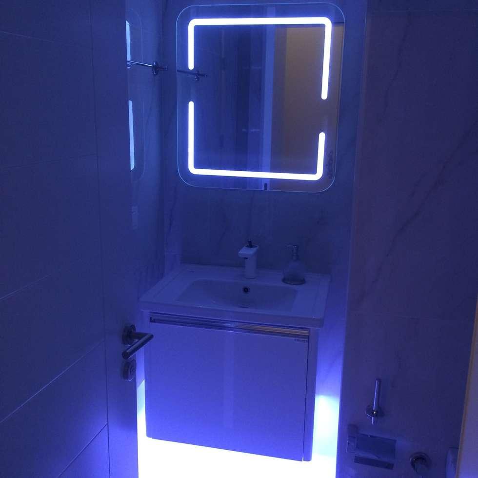 Gizem Kesten Architecture / Mimarlik – Beyaz banyo: modern tarz Banyo