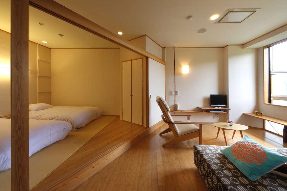客室 みずのあくび : Room  MIZUNOAKUBI: TAKA建築設計室が手掛けたホテルです。