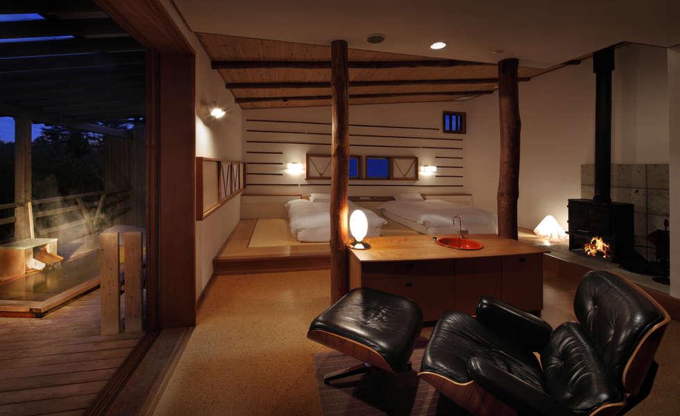 客室 さとの間 : Room  SATONOMA: TAKA建築設計室が手掛けたホテルです。