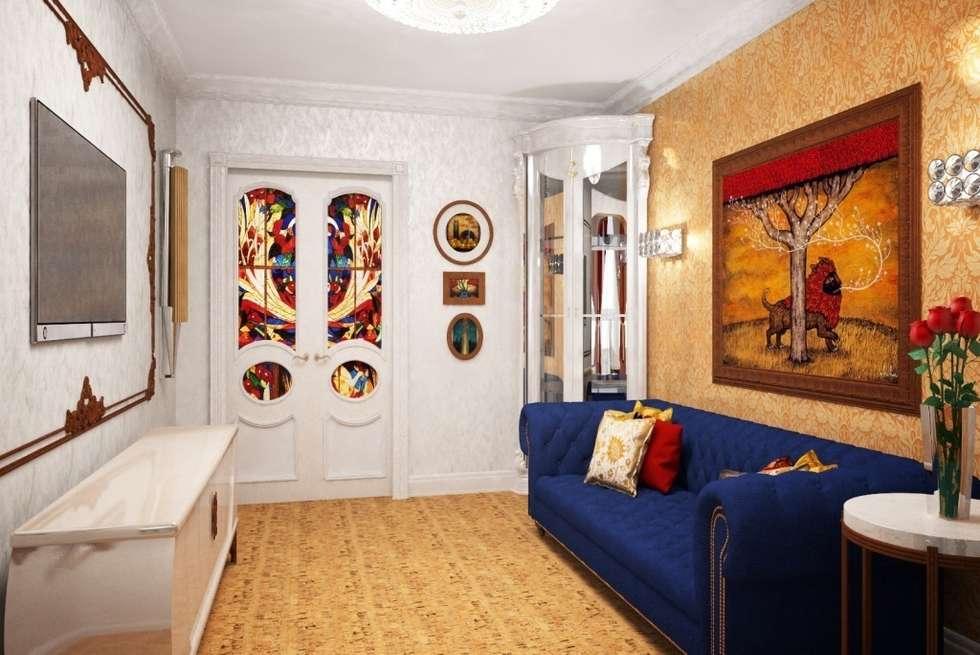 Дизайн интерьера гостиной в классическом стиле: Гостиная в . Автор – Альбина Романова