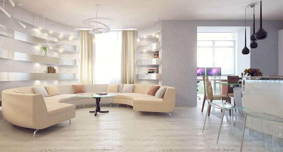 Кухня-гостиная: Гостиная в . Автор – Студия дизайна интерьера 'Золотое сечение'