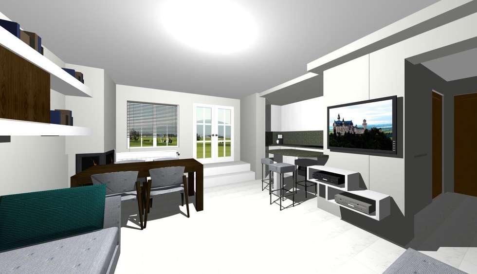 vista della zona ingresso con gradini: Soggiorno in stile in stile Moderno di studio design d'interni Frigerio Lisa