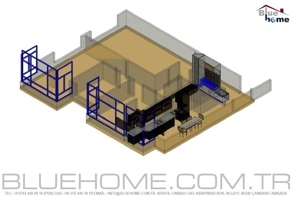 Blue Home  – Proje ve Uygulama: modern tarz Oturma Odası