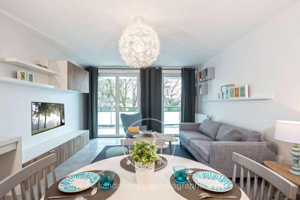 Appartement témoin salon: Salon de style de style Scandinave par Sandrine RIVIERE Photographie