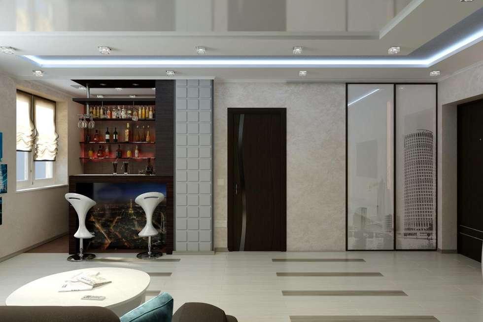 Дизайн 1-комнатной квартиры в Санкт-Петербурге: Гостиная в . Автор – Дизайн студия 'Exmod' Павел Цунев