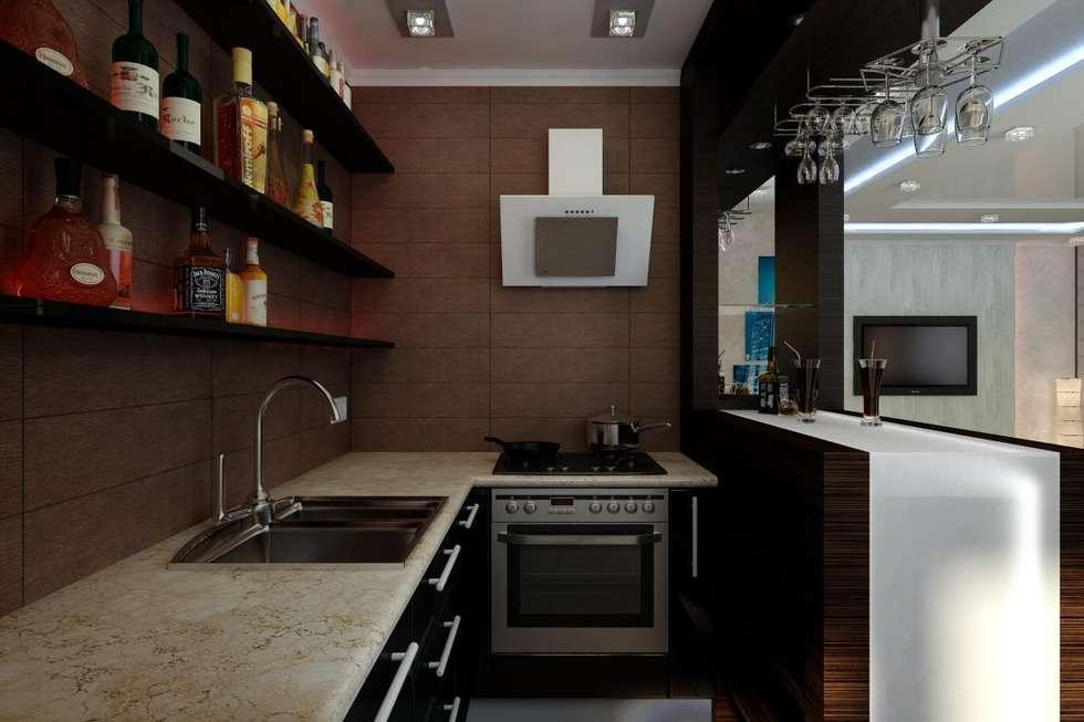 Дизайн 1-комнатной квартиры в Санкт-Петербурге: Кухни в . Автор – Дизайн студия 'Exmod' Павел Цунев