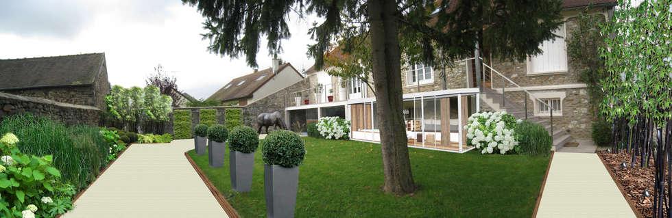 Jardin côté Sud-Est (Projet): Jardin de style de style Classique par Sophie coulon - Architecte Paysagiste