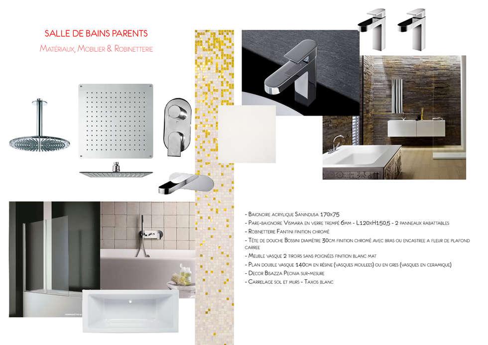 Planche matériaux: Salle de bains de style  par Ateliers Safouane