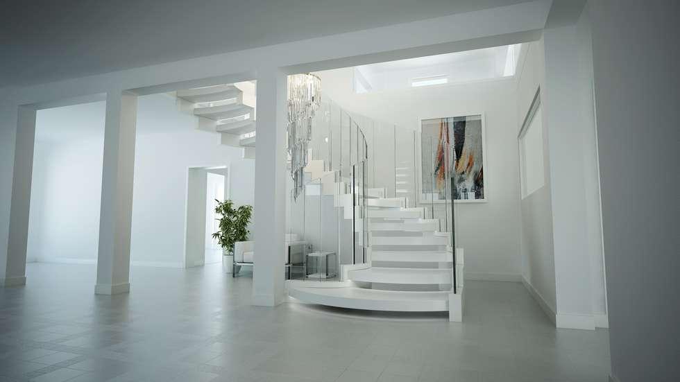 Moderner flur, diele & treppenhaus bilder: gebogene treppe aus ...