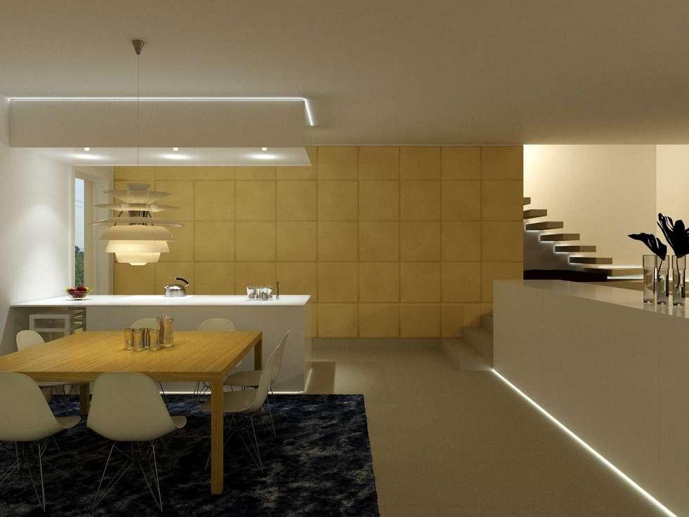 IN UN'UNICO SPAZIO OPEN.... LA CUCINA RIMANE INVISIBILE AGLI OCCHI... : Soggiorno in stile in stile Moderno di studio di progettazioni DARCHIMIRE