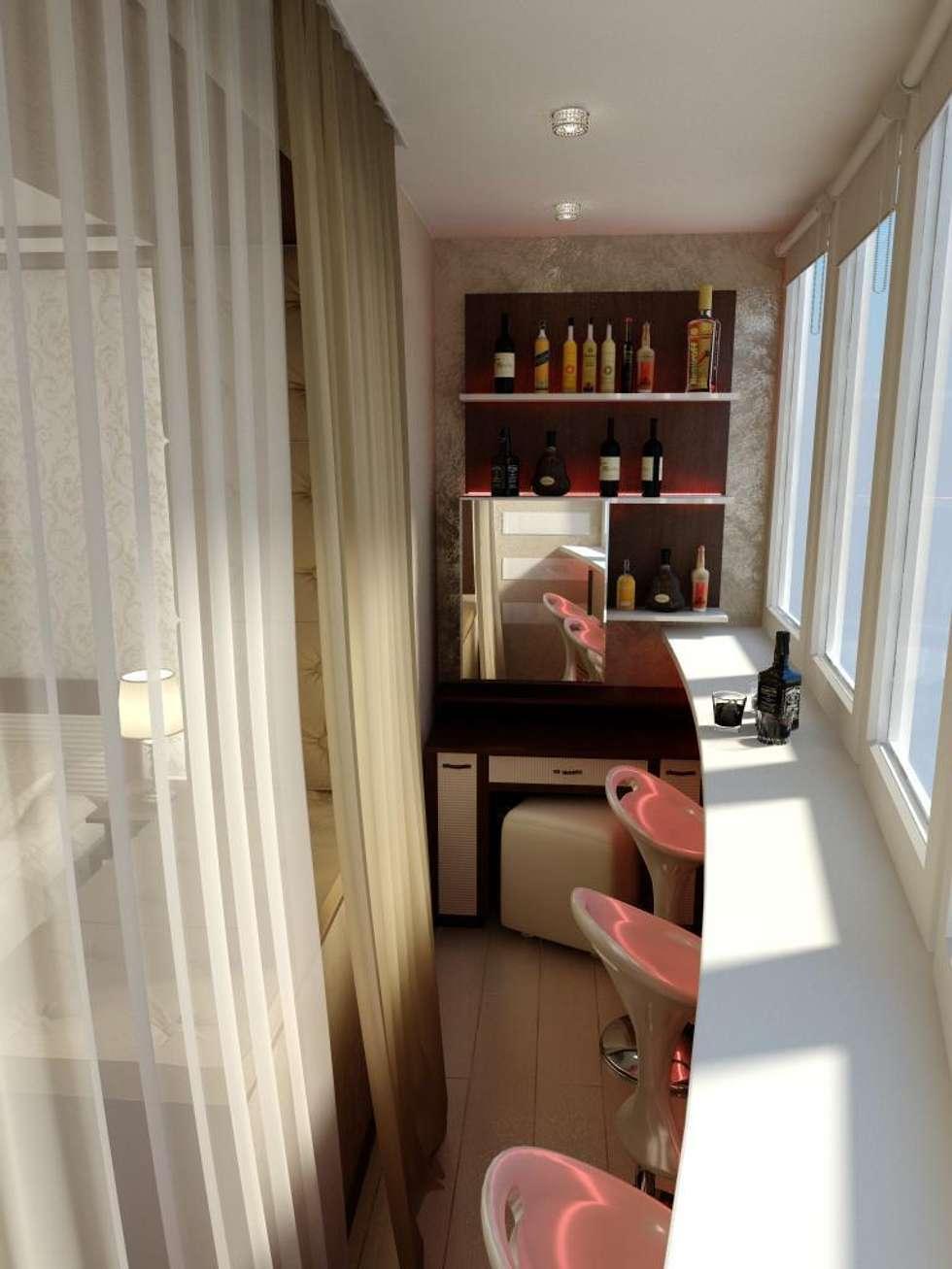 Балкон: Tерраса в . Автор – Дизайн студия 'Exmod' Павел Цунев