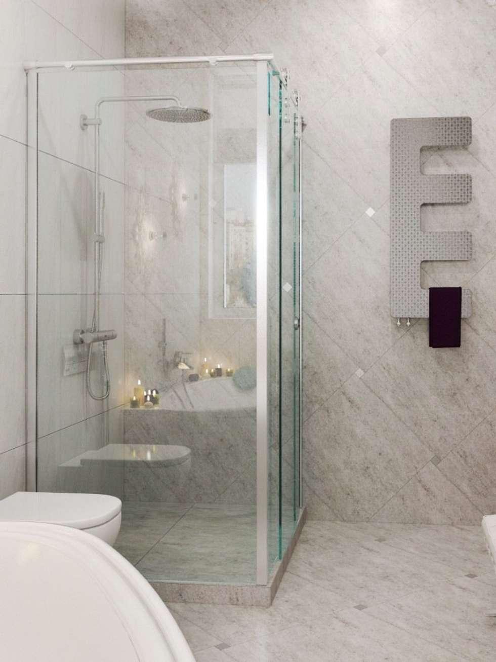 """душ и полотенцесушитель """"рыбья чешуя"""": Ванные комнаты в . Автор – pashchak design"""