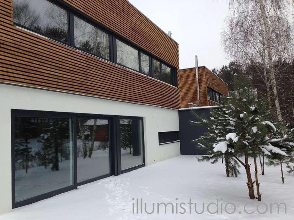 DOMY W ZABUDOWIE BLIŹNIACZEJ: styl skandynawskie, w kategorii Domy zaprojektowany przez ILLUMISTUDIO
