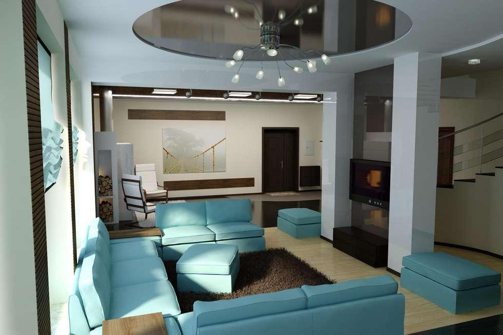 Частный дом в стиле минимализм.: Гостиная в . Автор – Дизайн студия 'Exmod' Павел Цунев
