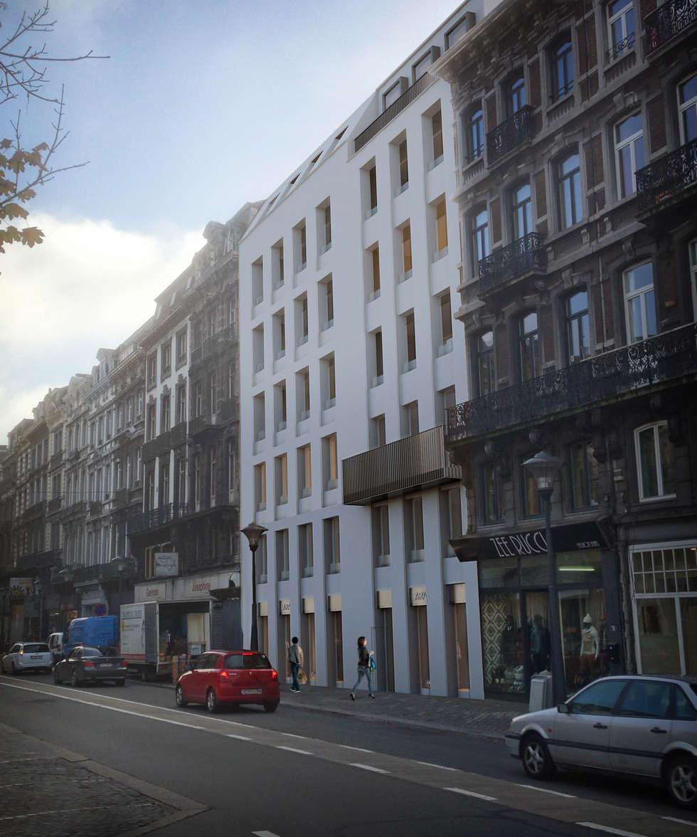 Façade rue Léopold: Maisons de style de style Moderne par altiplan°architects