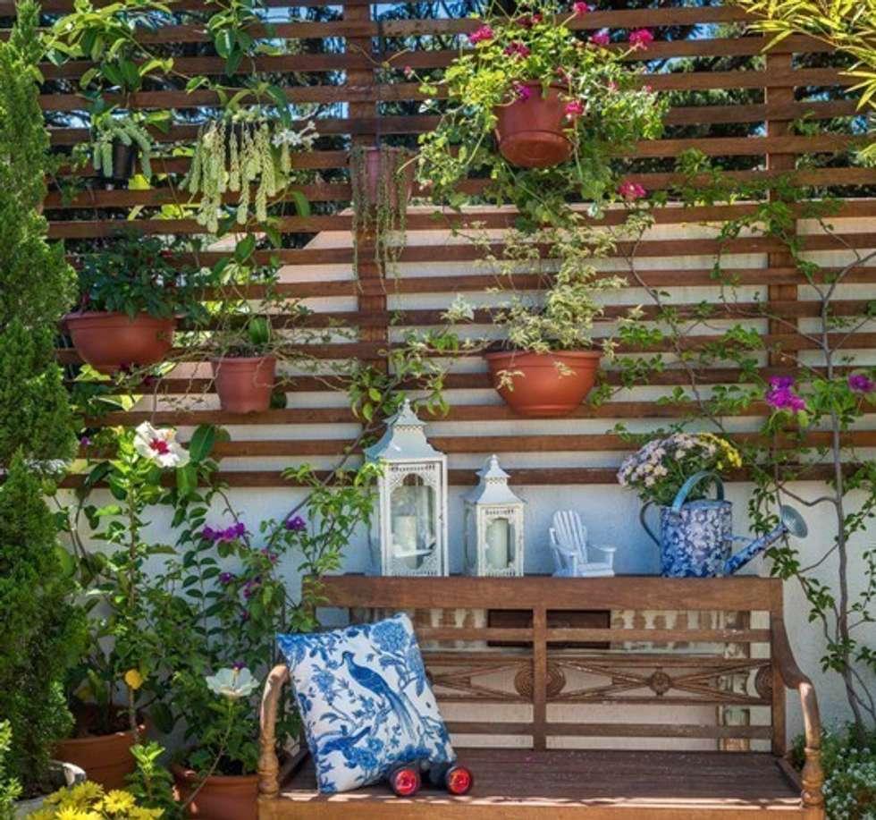 Terraço: Jardins ecléticos por Blacher Arquitetura