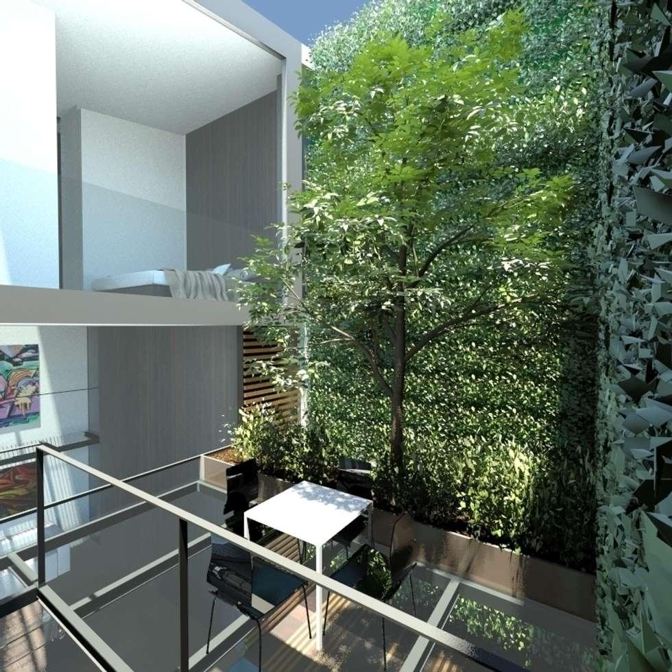 Giardino sopraelevato: Giardino in stile in stile Minimalista di gk architetti  (Carlo Andrea Gorelli+Keiko Kondo)