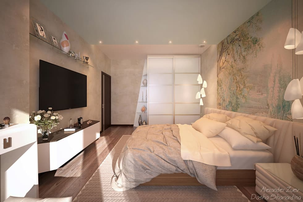Chambre de style de style Moderne par Студия интерьерного дизайна Дарьи Шамардиной и Александра Зуева