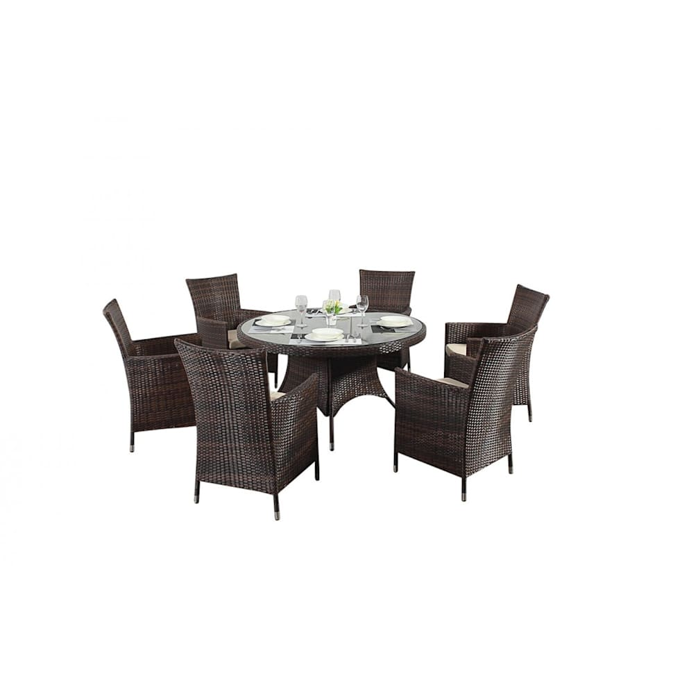Interior design ideas architecture and renovating photos  : Bonsoni Round Dining Set 6 Piece Colour Brown Includes a Large Glassed Top Circular Table Six Chairs and a Parasol Rattan Garden Furniture 34 from www.homify.com size 980 x 980 jpeg 35kB