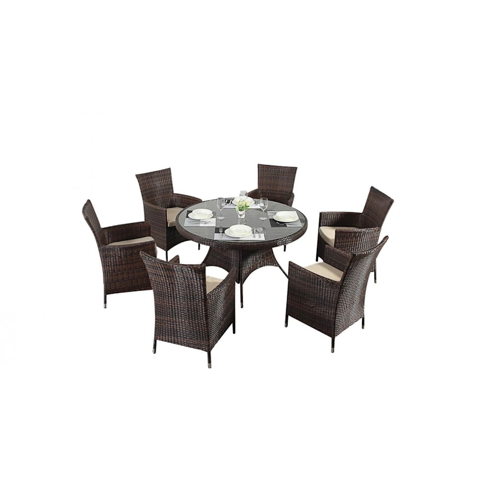Interior design ideas architecture and renovating photos  : Bonsoni Round Dining Set 6 Piece Colour Brown Includes a Large Glassed Top Circular Table Six Chairs and a Parasol Rattan Garden Furniture 36 from www.homify.com size 980 x 980 jpeg 36kB