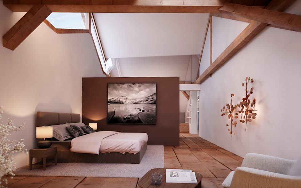 rustikale schlafzimmer bilder: masterbedroom im dachgeschoss | homify