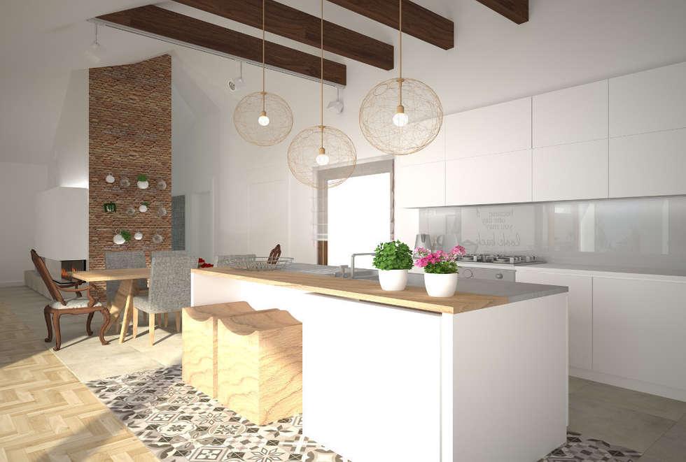 Dom w Łodzi - salon z kuchnią - nowoczesność z elementami skandynawskimi: styl , w kategorii Kuchnia zaprojektowany przez Kameleon - Kreatywne Studio Projektowania Wnętrz