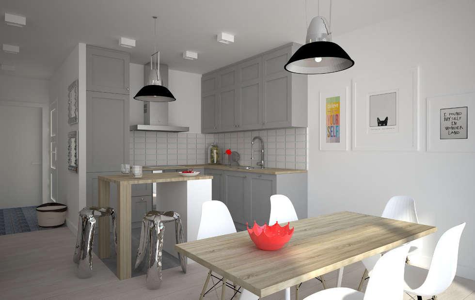 Mieszkanie w szarościach - Poznań: styl , w kategorii Kuchnia zaprojektowany przez Kameleon - Kreatywne Studio Projektowania Wnętrz