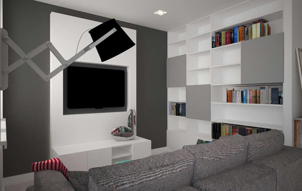 Mieszkanie w szarościach - Poznań: styl , w kategorii Salon zaprojektowany przez Kameleon - Kreatywne Studio Projektowania Wnętrz