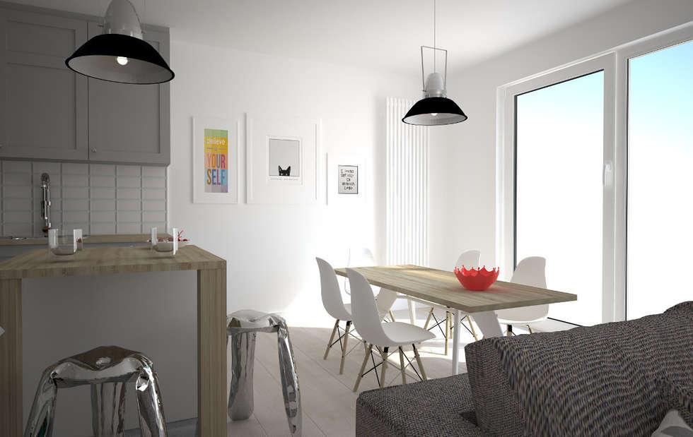 Mieszkanie w szarościach - Poznań: styl , w kategorii Jadalnia zaprojektowany przez Kameleon - Kreatywne Studio Projektowania Wnętrz