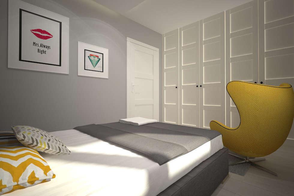 Mieszkanie w szarościach - Poznań: styl , w kategorii Sypialnia zaprojektowany przez Kameleon - Kreatywne Studio Projektowania Wnętrz
