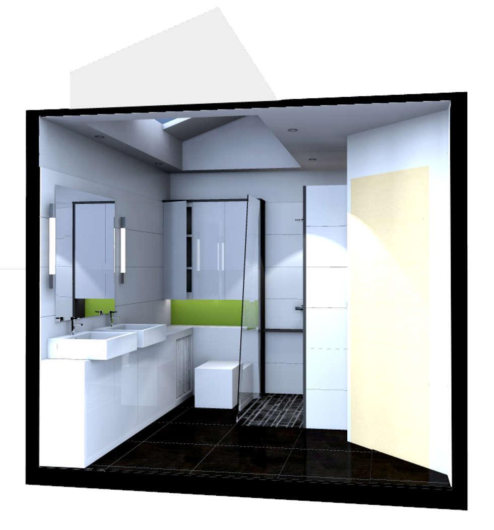 perspective du projet en cours d'étude: Salle de bains de style  par Atelier S