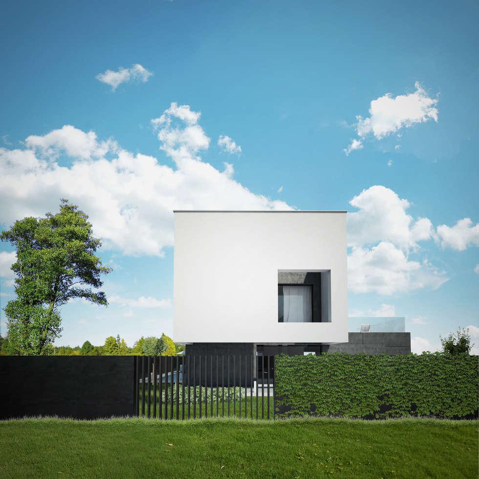 DOM Z DWUSPADOWYM DACHEM: styl minimalistyczne, w kategorii Domy zaprojektowany przez 90 stopni