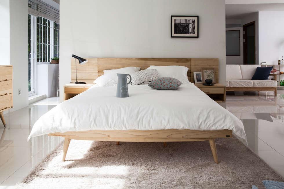 6534 라플란드 내추럴 모던 원목 침대: 시더스디자인그룹의  침실
