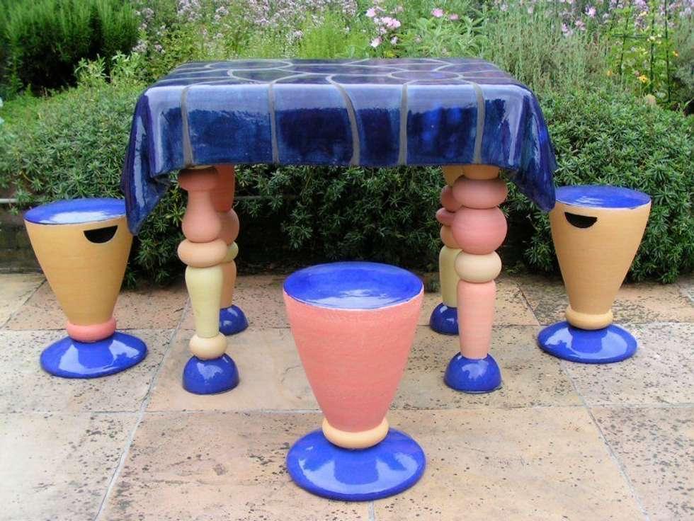 Tuinfonteinen: moderne Tuin door Pottenbakkerij Heksenvuur