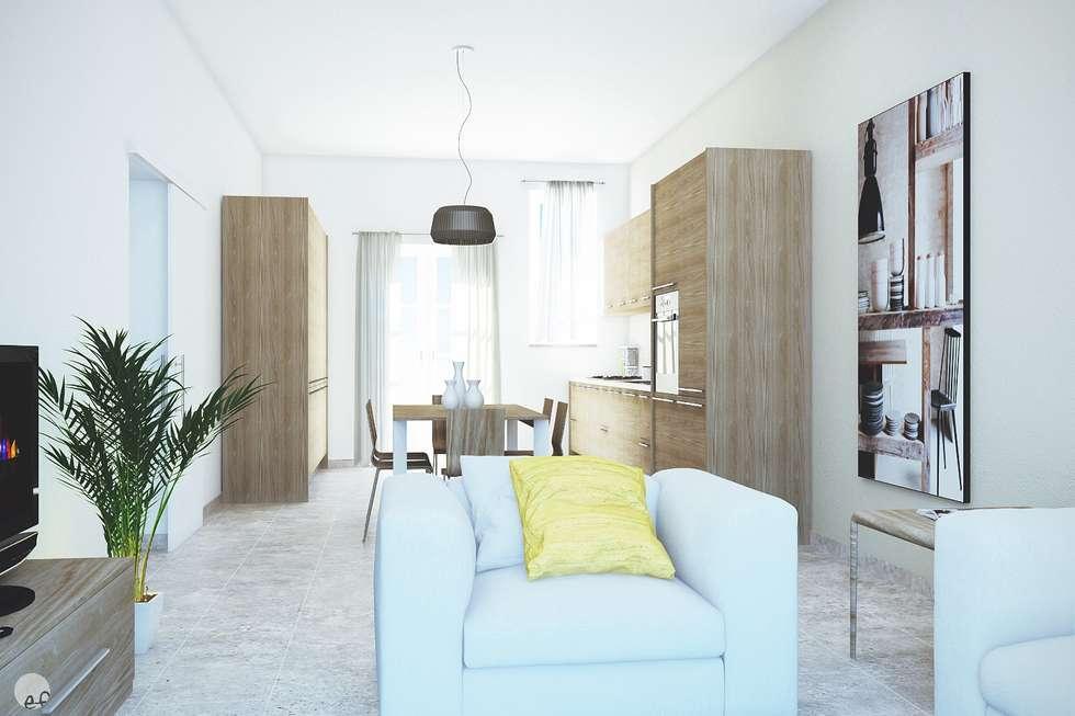 rendering interno di cucina soggiorno per trilocale di 60 mq volterra pi
