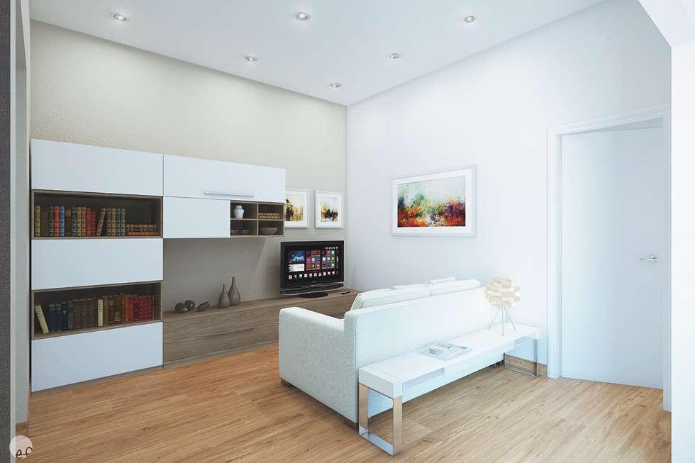 Rendering interno di soggiorno per trilocale di 75 mq (Volterra PI) : Soggiorno in stile in stile Minimalista di Eleonora Frosini