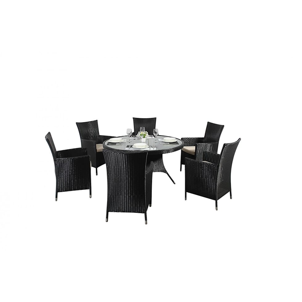 Interior design architecture and renovating pictures homify : Bonsoni Round Dining Set 6 Piece Colour Black Includes a Large Glassed Top Circular Table Six Chairs and a Parasol Rattan Garden Furniture 34 from www.homify.ca size 980 x 980 jpeg 30kB