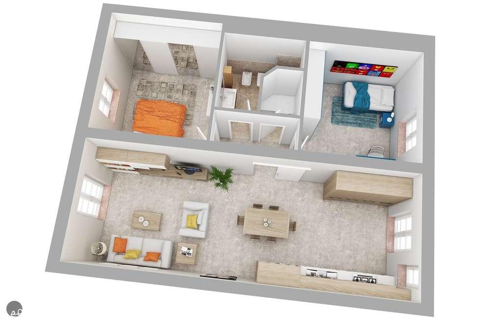 Idee arredamento casa interior design homify - Planimetria casa 60 mq ...