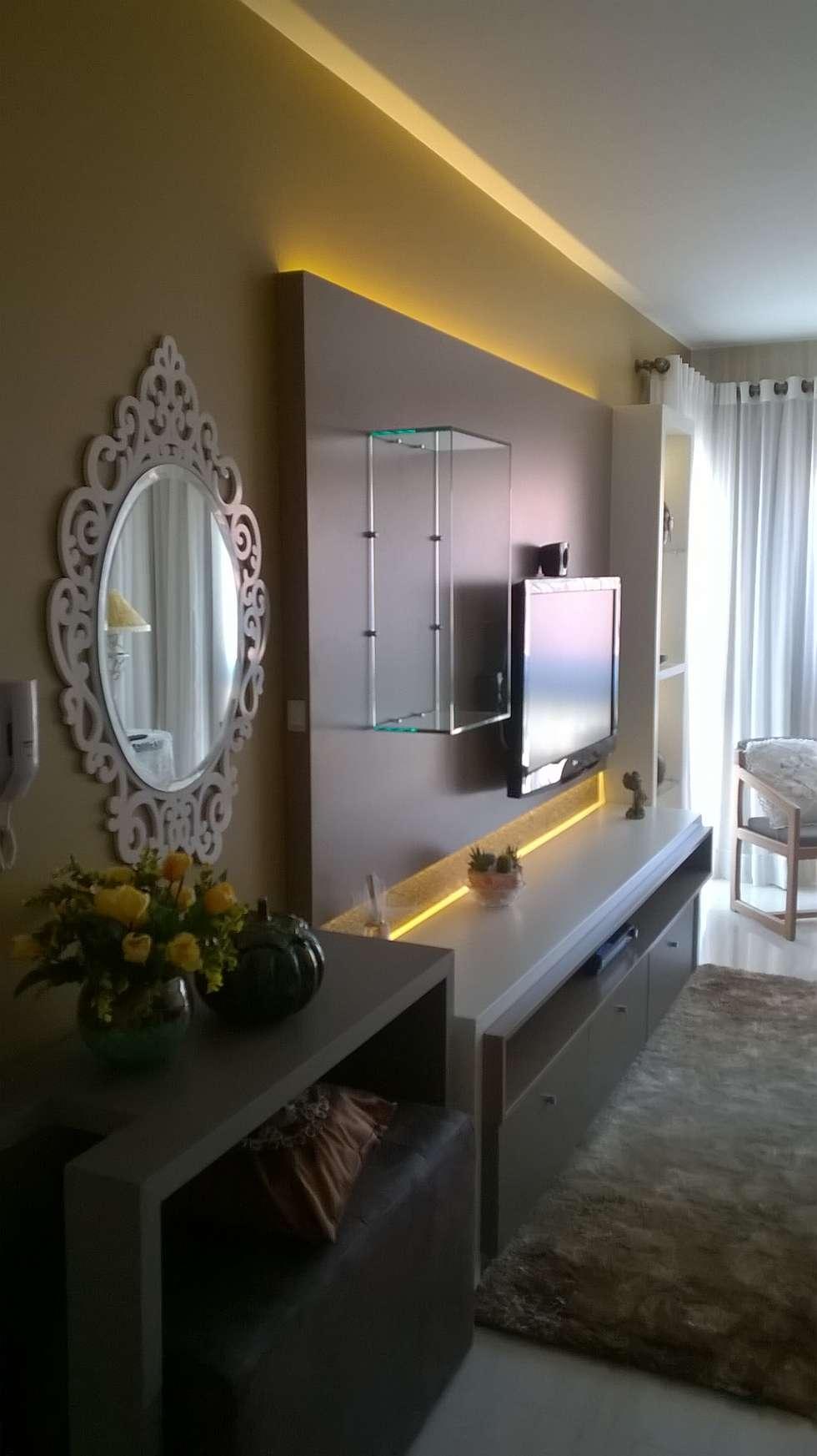 Tv Na Sala De Estar Sala De Estar Pequena Com Painel Espelhado Para  -> Sala De Tv Estar
