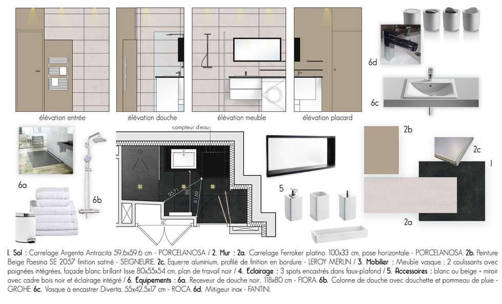 Projet de la salle de bains: Salle de bains de style  par Chloé Bouvier | Architecte d'intérieur CFAI