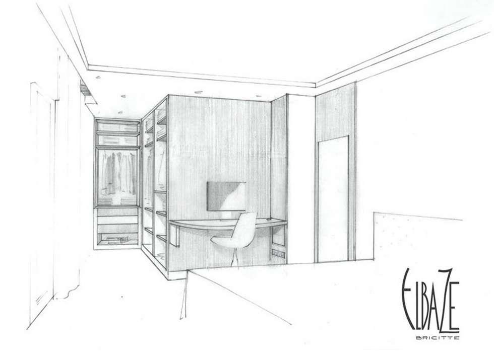 Perspective vue sur la chambre: Chambre de style de style Moderne par Agence Brigitte Elbaze