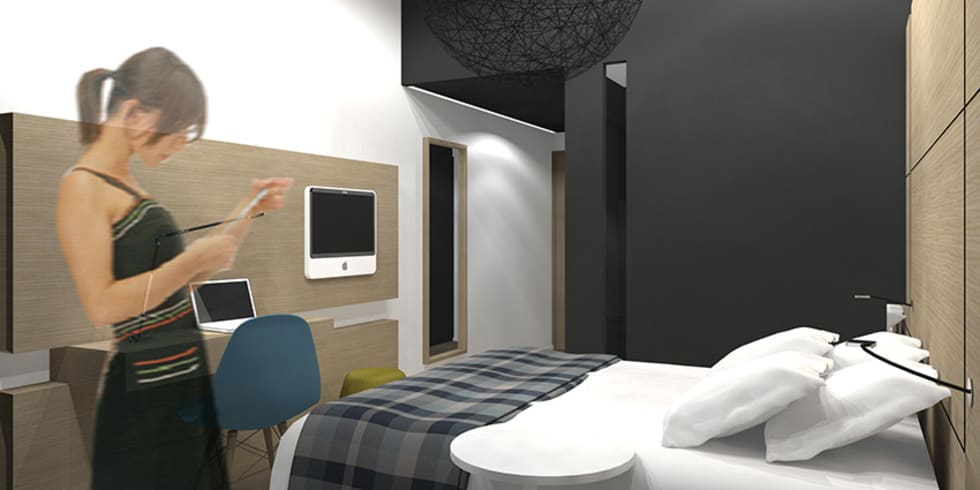 Chambre de l'hôtel SPA à Brest: Hôtels de style  par Trace & Associes architecture