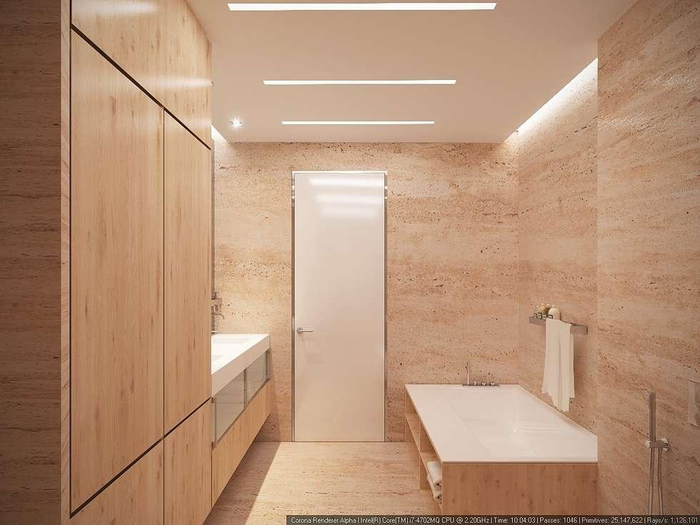 Хозяйская ванна: Ванные комнаты в . Автор – ECOForma
