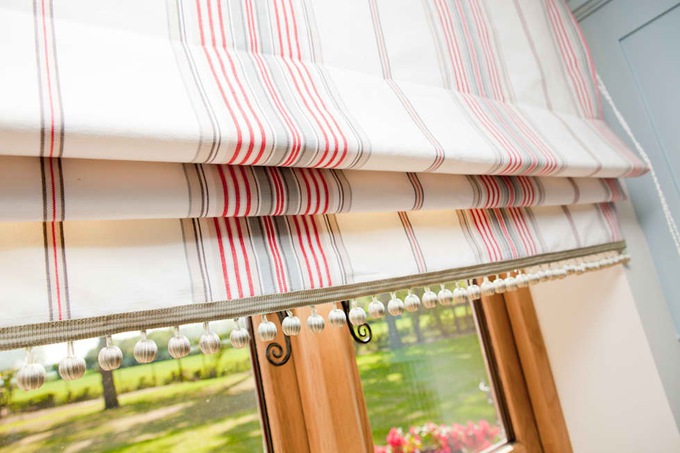 ball fringe curtains. ivory, taupe and coral red striped roman blinds with ball fringe: country kitchen by fringe curtains