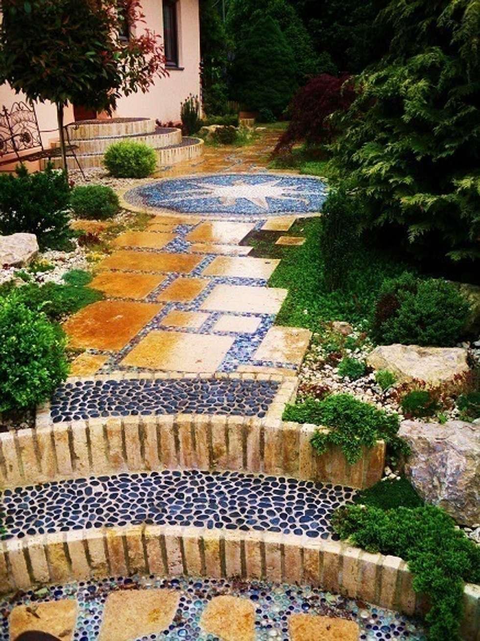 Mediterraner Garten Bilder Weg mit Travatin und Kieseln