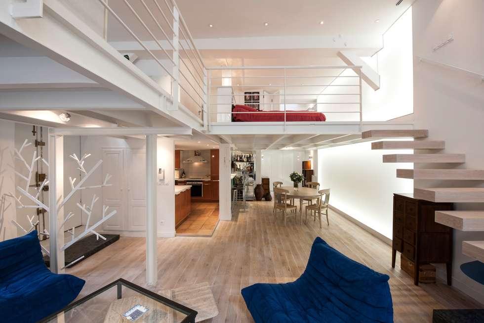 Loft totalement ouvert: Salon de style de style Minimaliste par Fables de murs